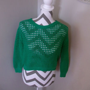 Forever 21 Green Crochet Cropped Sweater SMALL